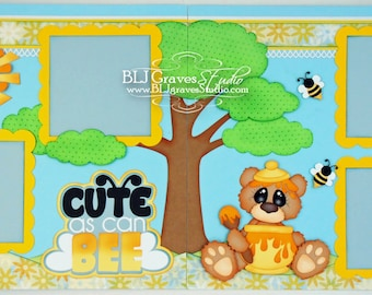 2 Premade Scrapbook Pages Cute As Can Bee Honey Bear Baby Boy Girl 12x12 Layout Paper Piecing Handmade 70