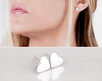 Sterling Silver Heart Stud Earrings, Love Earrings, Cute Earrings, Simple Studs, Mini Heart Post Earrings, Bridesmaid Gift, Gold, Rose Gold