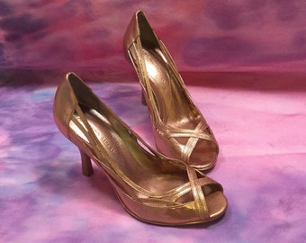 Metallic Rose Gold, Copper, Gold, Open Toe Ladies Pumps, Peep Toe Heels