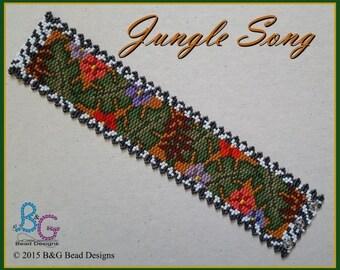 JUNGLE SONG Peyote Cuff Bracelet Pattern