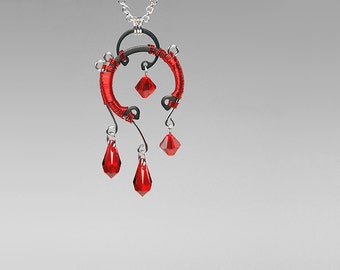 Red Swarovski Crystal Industrial Pendant, Swarovski Necklace, Statement Pendant, Industrial Jewelry, Bridal Jewelry, Umbriel v3