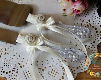 Ivory Wedding Cake Knife Set-Roses Wedding Cake Server and Knife-Lace Cake Server-Wedding Cake Accessories-Cake Cutting Set-Wedding Gift