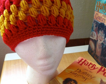 Gryffindor House Pride Vintage Style Crocheted Hat (one size fits most)