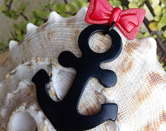 Anchors Away Sailor Novelty Bow Brooch - Dangle Pin - Nautical Navy Military Ahoy - Veterans Memorial Day 4th Of July - Vintage Inspired