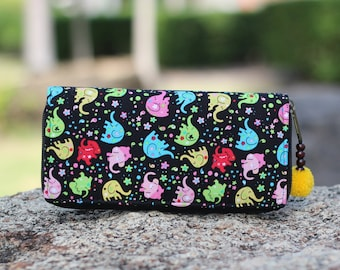 Colorful Elephants Cotton Women's Wallet   Boho Purse   Cute Wallet   Vegan Wallet   Boho wallet  iphone wallet  Fabric wallet  Gift for Her