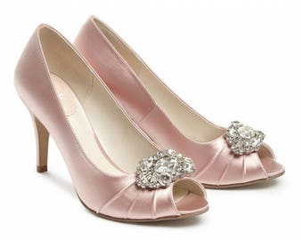 Wedding Shoes - Bridal Shoes - Crystal Embellished Wedding Shoes - Crystals - Blush Wedding Shoes - Custom Women's Wedding Shoes  High Heels