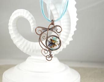 Wire wrapped pendant, Butterfly Necklace, Butterfly lampwork pendant, Antique copper wire wrapped necklace, Free shipping, Item #624