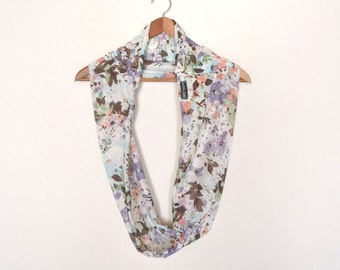 Fabric Scarf Floral Infinity Scarf Eco Friendly Vintage Fabric Cowl