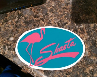 Shasta Glamping sticker Hot Pink and Turquoise