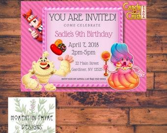 Candy Crush Custom Kid's Digital Birthday Invitation Printable