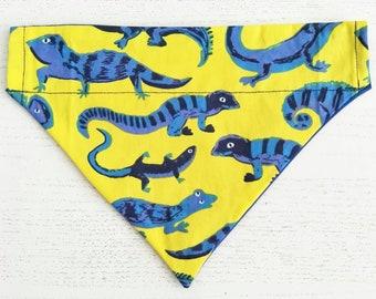 Lizard Dog Bandana, Neckerchief, Over The Collar, Dog Scarf,