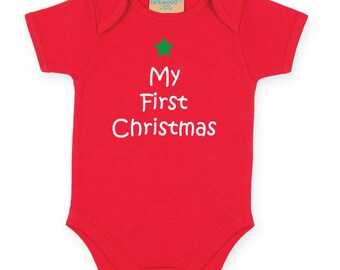 My First Christmas Baby Bodysuit. First Christmas Baby Grow. 1st Baby Christmas Outfit. Baby Vest. 1st Christmas Baby Gift.