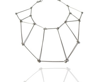 Linear Statement necklace, geometric and contemporary jewelry, silver cool necklace, minimal sculptural, gift for trendy women