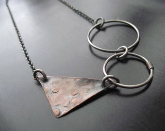 Geometric Oxidized Sterling Silver and Copper Necklace