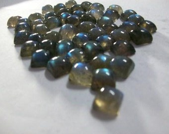 25 Pcs Lot  NATURAL LABRADORITE square caboshon 8x8 mm