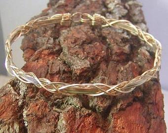 Bracelet - Wire Bracelet - Unique Grapevine Style Gold Wirewrapped Bracelet - Gold Bangle - Wire Bangle - 14kt Gold Filled - Gift For Her