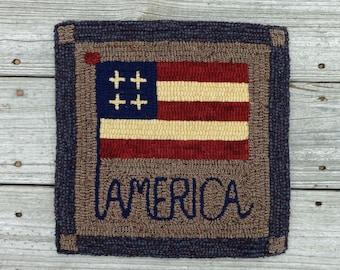Primitive Rug Hooking - Hand Hooked Folk Art Americana Patriotic Flag Rug (Free Shipping)