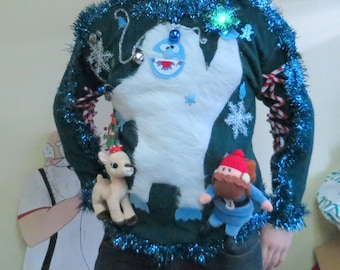 Custom 3-D Furry Fuzzy The Abominable  Snowman  Light up  Tacky Ugly Christmas Sweater  PRIORITY MAIL Shipping