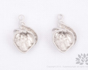 P756-MR// Matt Rhodium Plated Seashell Pendent, 2 Pc