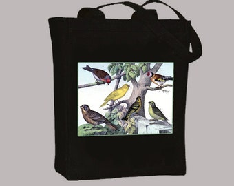 Beautiful Vintage Wild Birds illustration on Canvas Tote with shoulder strap - Selection of sizes , colors available