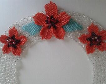 Beaded Necklace Fleur rouge