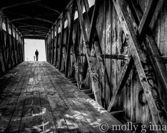 covered bridge photography black and white photography graffiti 8x10 print 11x14 print 16x20 print
