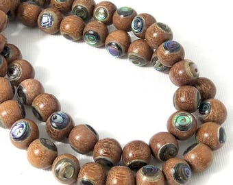 Magkuno Wood with Abalone Shell Inlay, Medium Brown, Natural Wood, Round, Smooth, 10mm, Large, 8 Inch Strand - ID 1714-MD