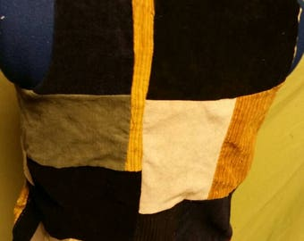 Patchwork back vest with yellow flowers sz S