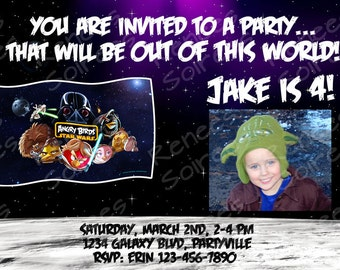 Star Wars Angry Birds PRINTABLE INVITATION - Birthday Invite - Personalized - Photo included