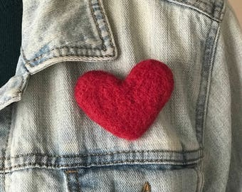 Needle Felt Red Heart Pin - Valentine's Day Heart Brooch - Felt Heart Jewelry - Wool Red Heart Pin - Mother's Day Brooch Pin - Gift Idea
