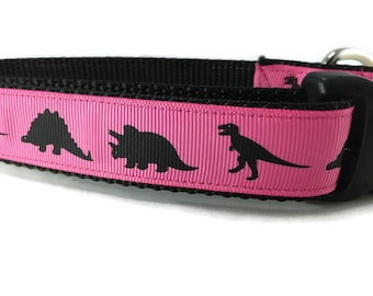 Dog Collar, Pink Dino, Dinosaur, 1 inch wide, adjustable, quick release, metal buckle, chain, martingale, hybrid, nylon