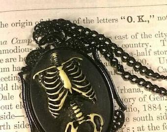 Torso Skeleton Cameo Necklace