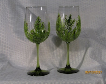Beautifully hand painted spruce wine glasses