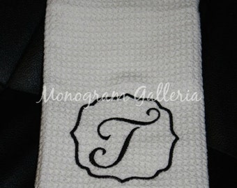 Monogrammed White Microfiber Waffle Weave Kitchen Towel