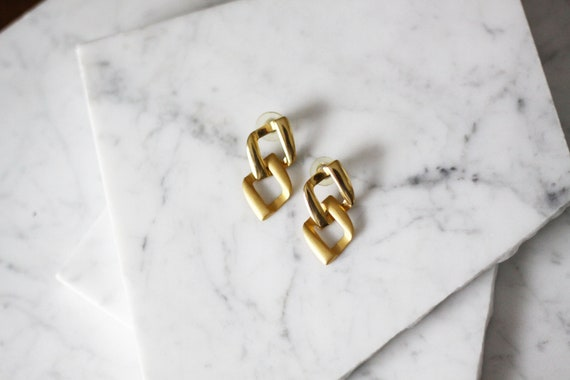 1980s two tone gold earrings // 1980s gold link earrings // vintage earrings