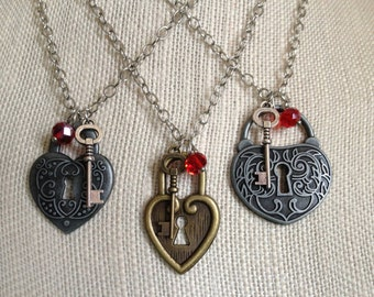 Key to My Heart Necklace, Lock and Skeleton Key, I Love You, Be Mine, Sweetheart, Vintage Inspired, Red Hot, Girlfriend, Wife, MaBeL Jewelry