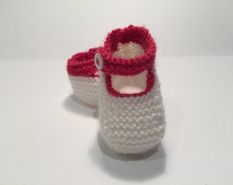 Mary jane baby booties.