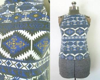 Tribal Print Sleeveless Mock Turtleneck Top // Peephole Back Cotton Blend Cropped Tee Shirt