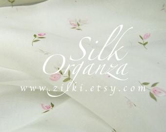 Ivory organza Silk Pink Buds Wedding fabric by the yard