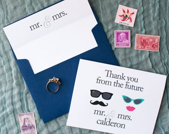 FREE SHIPPING & PERSONALIZATION Thank You From the New Mr and Mrs Wedding Cards / Wedding Thank You Card / Stationery | Bridal Shower Gift