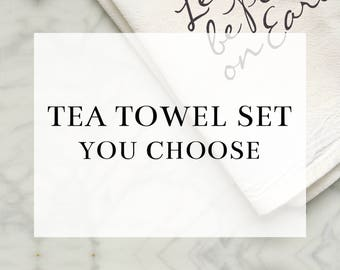 Flour Sack Tea Towel Set (YOU CHOOSE) *Premium Cotton*   Kitchen Towel, Housewarming Gift, Home Decor, Hostess Gift, Gift for Her