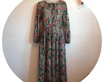 Vintage 70's Paisley Day Dress Size 10