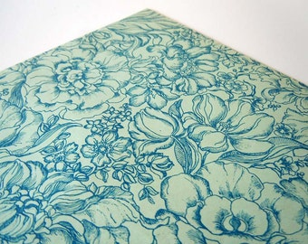 1980s Any Occasion Wrapping Paper   Blue Floral Gift Wrap Paper