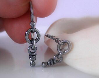 Ali Tiny Sterling Silver Earrings. Dangling Little Knots. Oxidized & Rustic Handmade