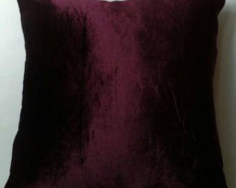 burgundy Velvet  euro sham floor pillow. Mahogany velvet pillow. decorative pillow. Velvet floor cushion cover aubergine velvet