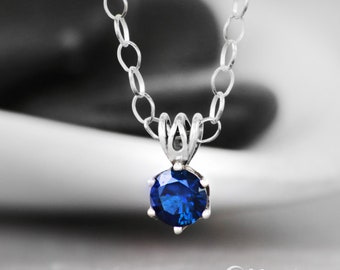Blue Sapphire Gemstone Necklace - Sterling Silver Sapphire Necklace - September Birthstone Necklace- Delicate Gemstone Pendant- Gift for Her