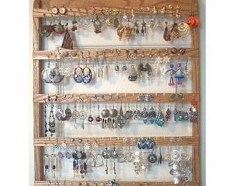 ON SALE Earring Holder, Jewelry Organizer, Solid Oak Wood, Wall Mount, Honey Stain , Wooden Jewelry Holder, Best Earring, Necklace Holder