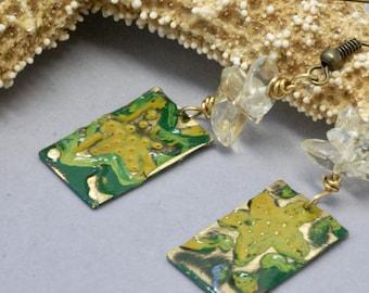Starfish Earrings, Yellow Earrings, Green Earrings, Starfish Jewelry, Handmade Patina Earrings, Beach Jewelry, Ocean Earrings, Gift for Her