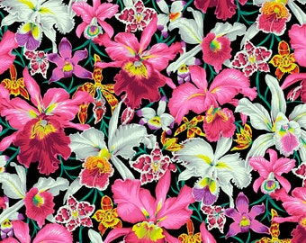 NEW Free Spirit Kaffe Fassett Spring 2018 Black Orchid Pink Yellow PWPJ092.BLACK Fabric BTY 1 yd