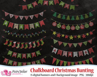 Chalkboard Christmas Bunting clipart. Commercial & personal Use. Instant Download. Red green digital chalk xmas snowflakes lights stockings.